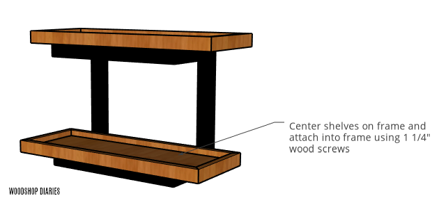 Attach shelf trays to wall shelf frame with wood screws diagram
