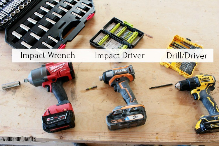 Impact wrench, driver, drill side by side comparison