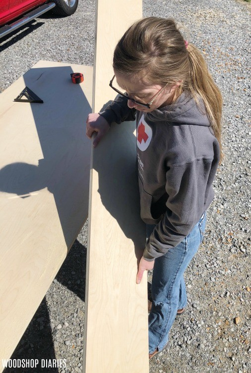 Shara Woodshop Diaries cutting down plywood sheet into strips
