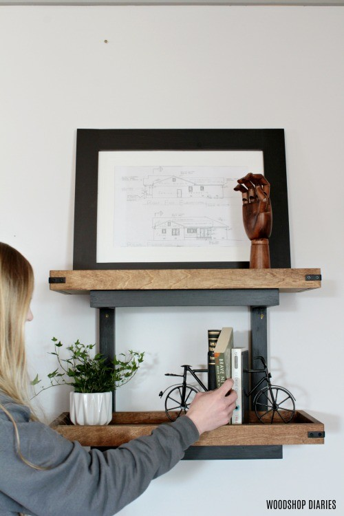 Shara Woodshop Diaries with scrap wood wall shelf