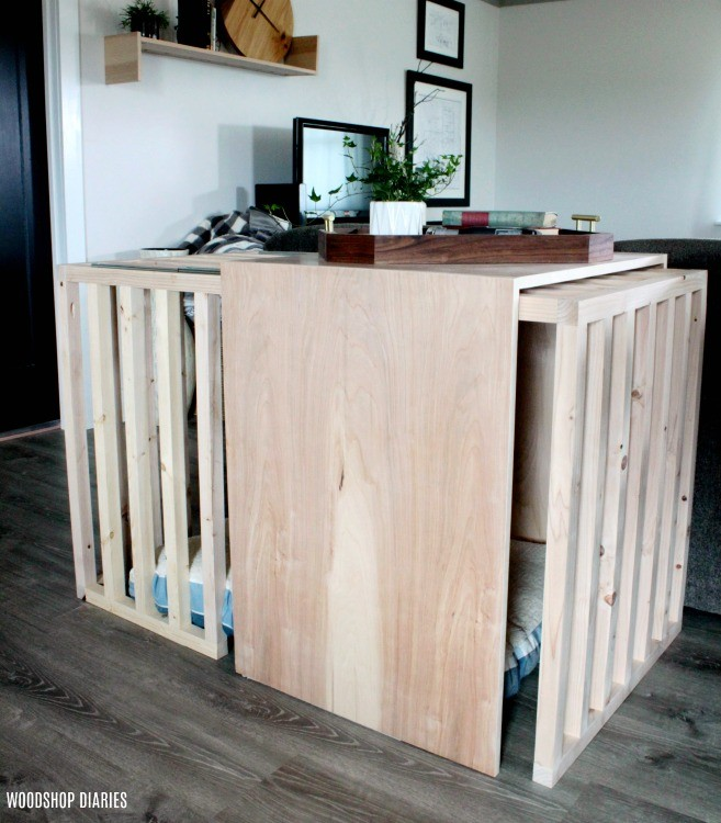 Dog crate kennel furniture with sliding door closed