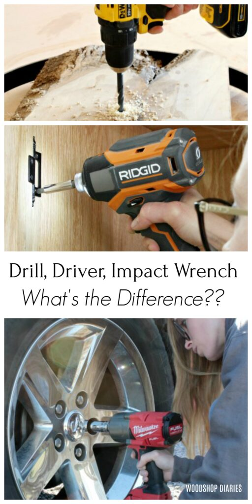 Drill driver impact wrench collage image for pinterest