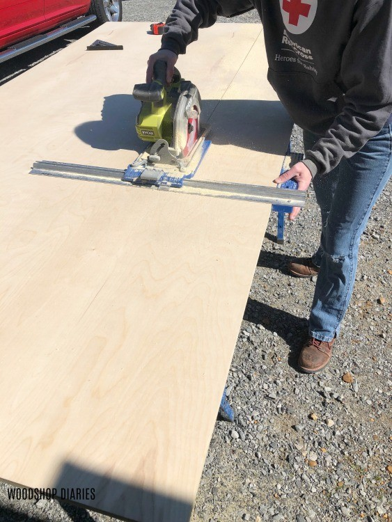 Kreg Rip cut tool used to cut down plywood to build cabinets