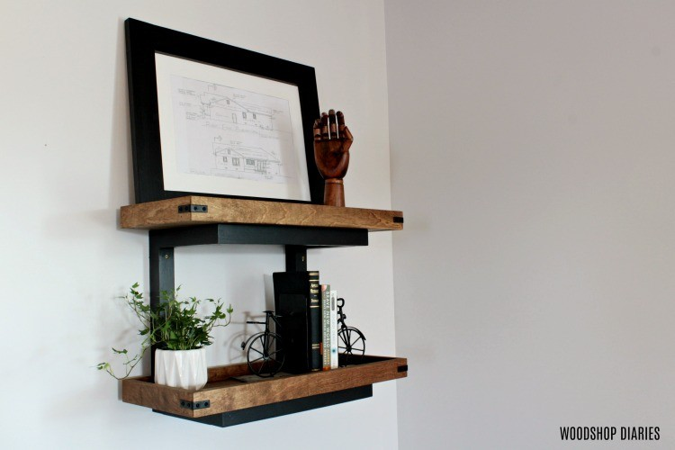 Floating wall shelves from scrap wood with industrial details