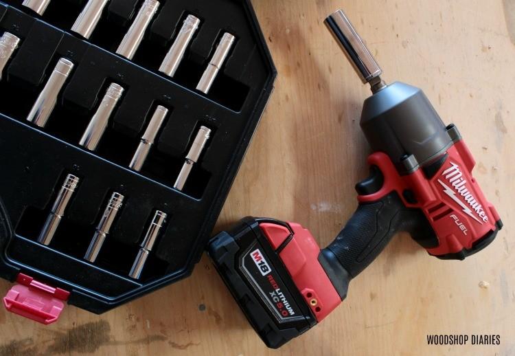 Milwaukee impact wrench with socket set