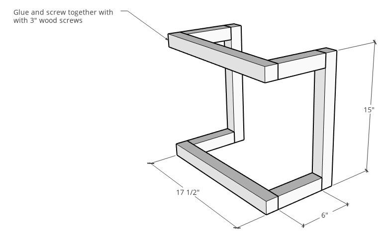 DIY wall shelf frame diagram