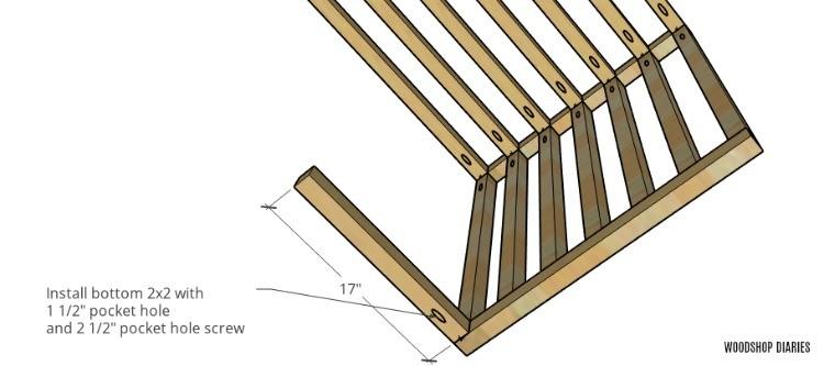 Front left side brace on dog kennel furniture piece