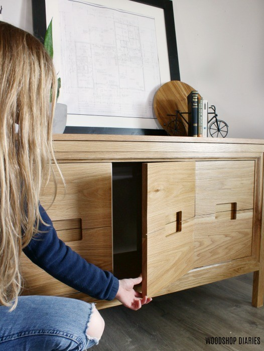 Shara Woodshop Diaries showing off modern white oak vanity for parents master bathroom renovation