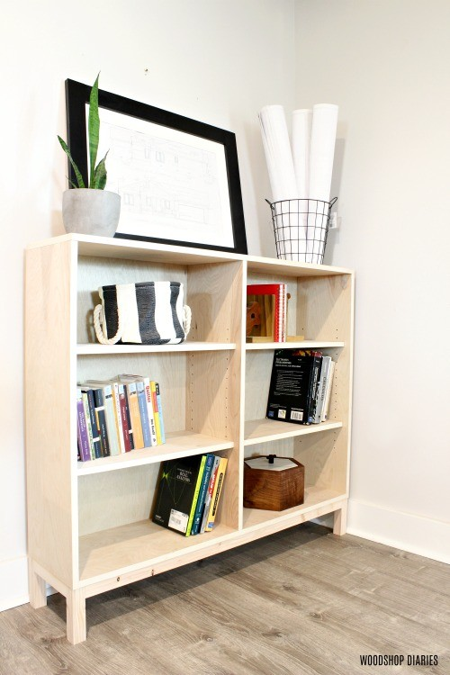 One sheet plywood bookshelf vertical image