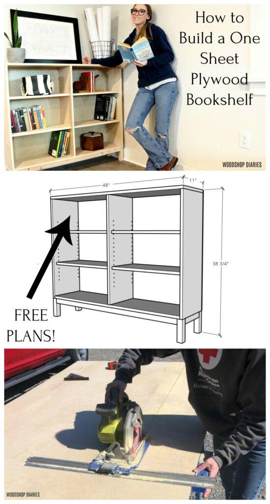 One sheet plywood bookshelf collage pinterest image
