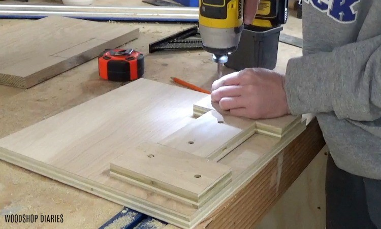 Plywood template to cut notches for drawer fronts
