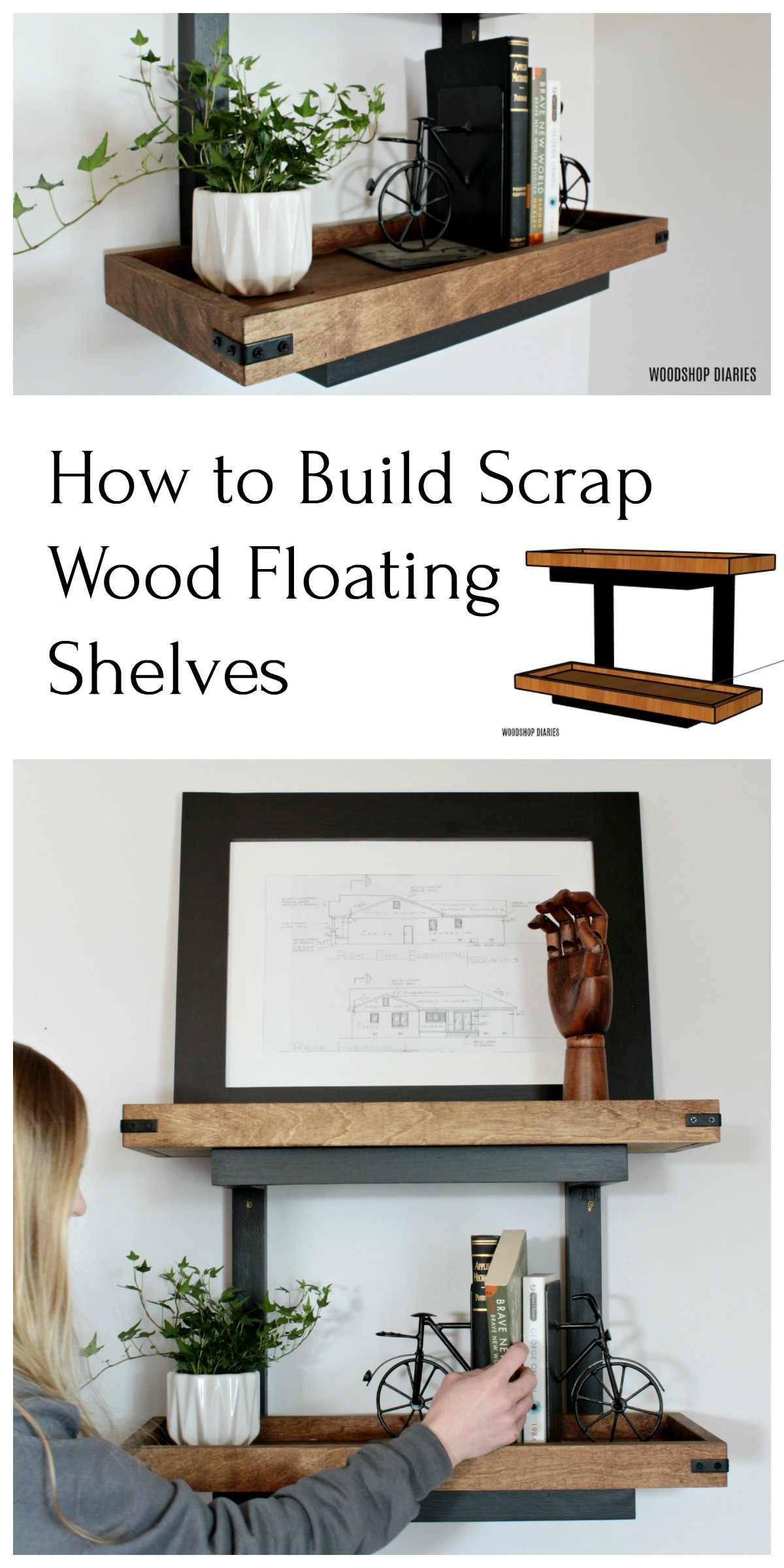 How to Build Scrap Wood Floating Wall Shelves Pin Collage Image