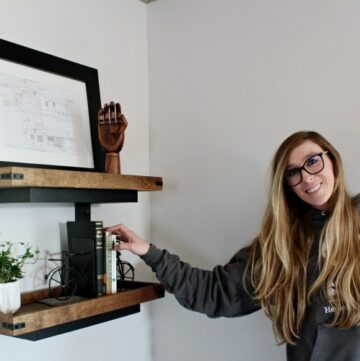 Shara Woodshop Diaries with DIY floating wall shelf project