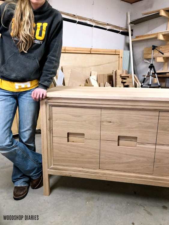 Shara Woodshop Diaries with Dresser Vanity Unfinished in workshop