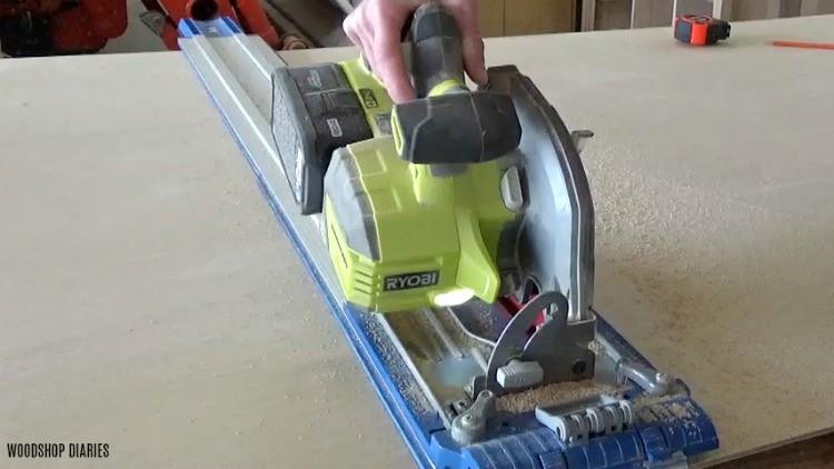 Using Kreg AccuCut to Rip plywood sheet in half