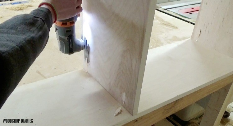 Oscillating saw used to flush cut pocket hole plugs