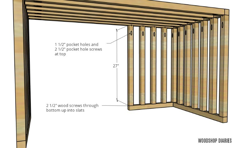 Vertical slats attached between top and bottom front left side brace