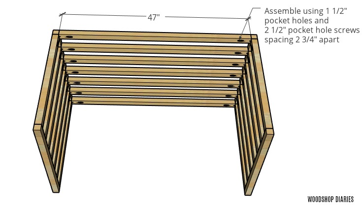 Dog crate with top slats attached between side panels with pocket holes