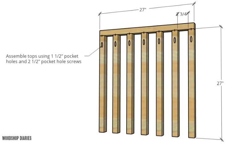 Vertical dog crate side panel slats attached to top brace with pocket holes