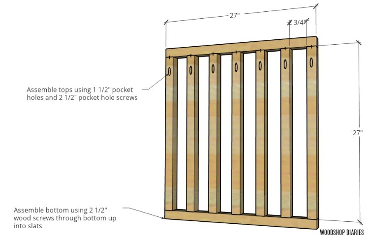 Dog Crate side panel assembly with bottom brace attached