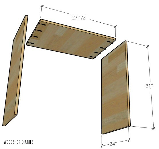 Exploded view of sliding door assembly for dog crate