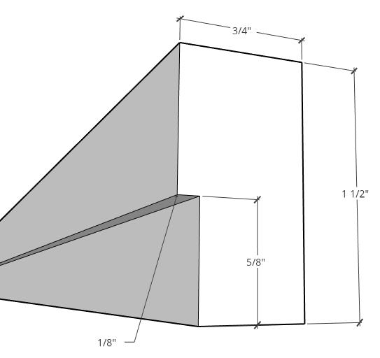 dimensioned diagram of rabbet cut on diy trim detail