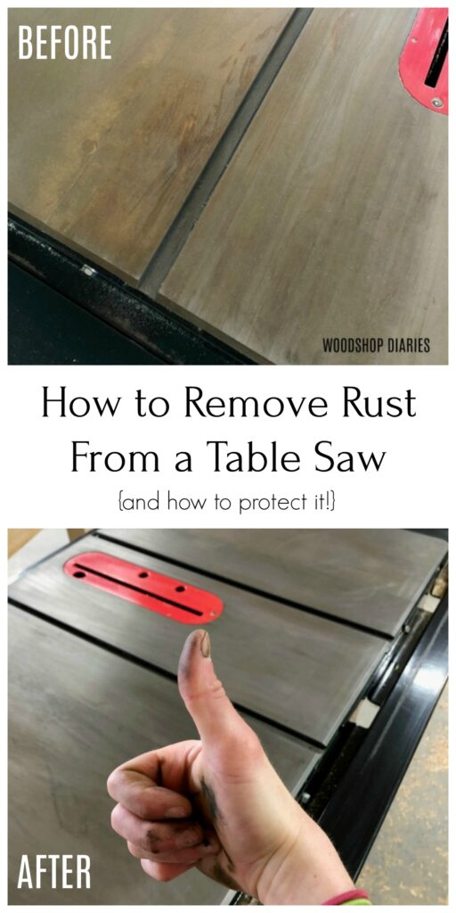 Before and after removing surface rust on table saw collage image