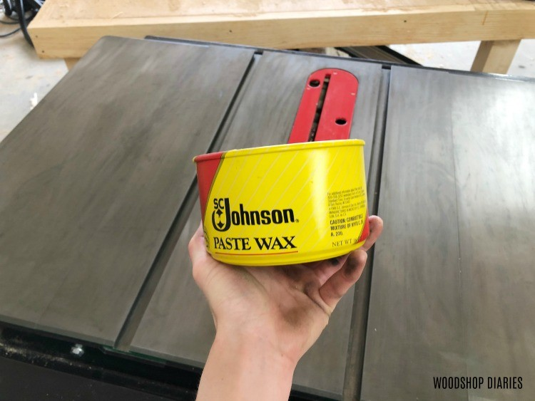 Johnsons Paste wax on table saw top to protect it