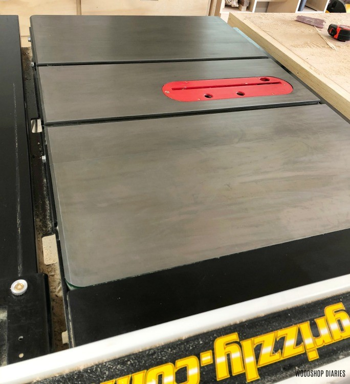 Rust free table saw top close up
