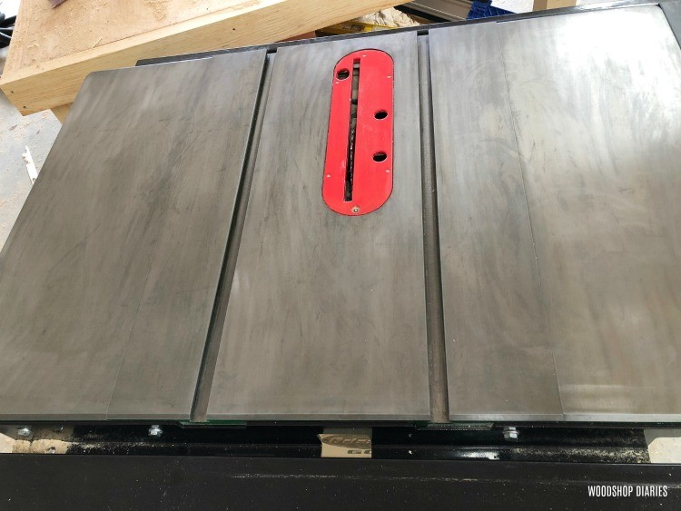 Rust remover gel wiped off table saw surface
