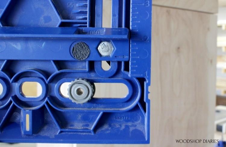 Adjust Kreg Cabinet Hardware Jig distance from edge on back side