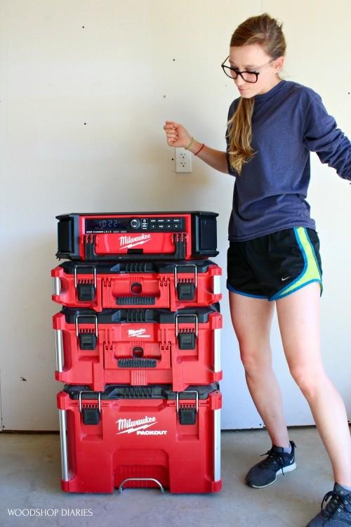 Shara Woodshop Diaries dancing next to stereo set up