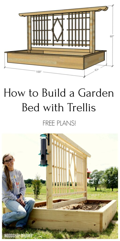 DIY Garden Bed with Trellis Design Pinterest collage--Sketchup drawing and Shara Woodshop Diaries with garden bed