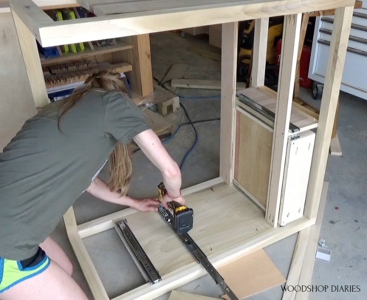 Shara installing ball bearing drawer slides into dresser frame