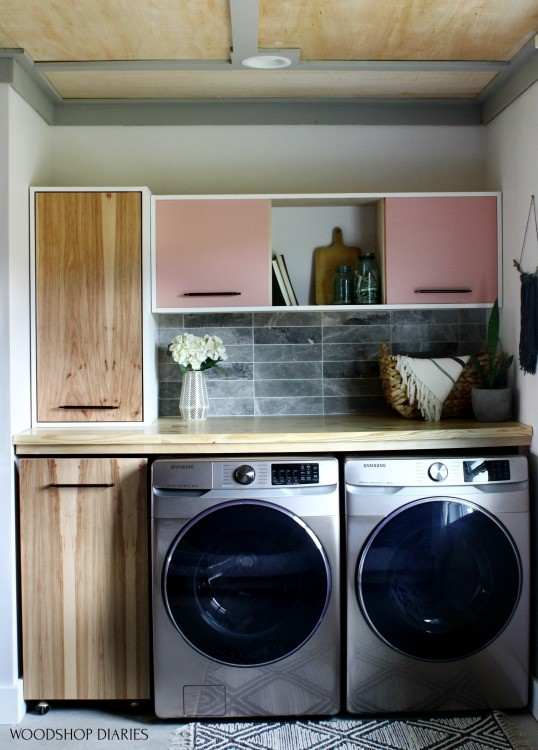 Plywood ceiling details in laundry nook space