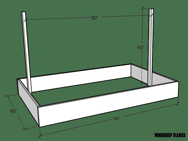 Basic diagram of garden bed with trellis frame