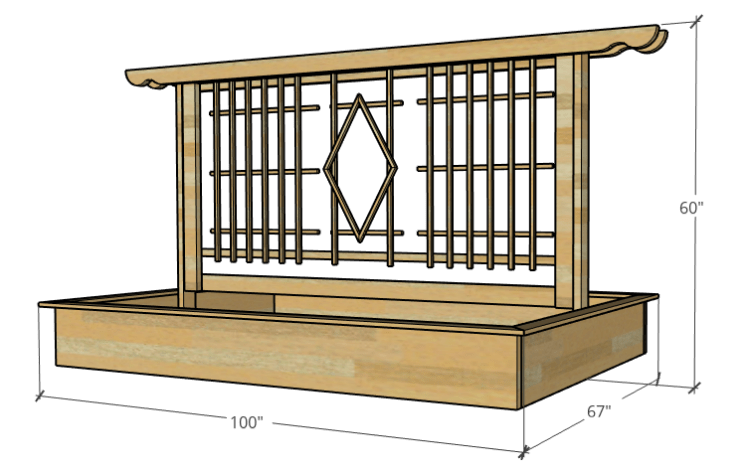 Overall dimensions of garden bed with trellis design 3d graphic