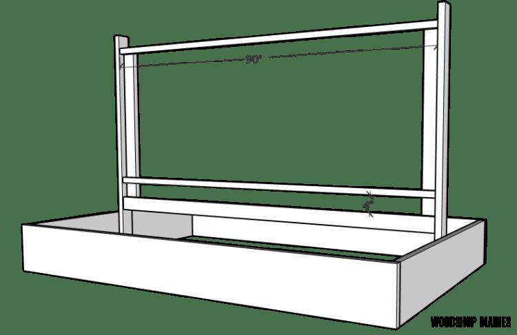 Diagram of garden bed with trellis design frame