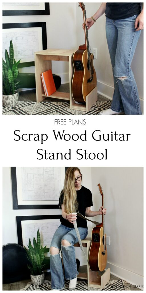 DIY scrap wood guitar stand and stool with shelf for books collage image for pinterest