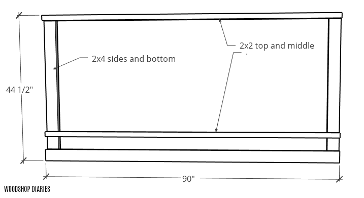 Overall dimensions of garden bed trellis