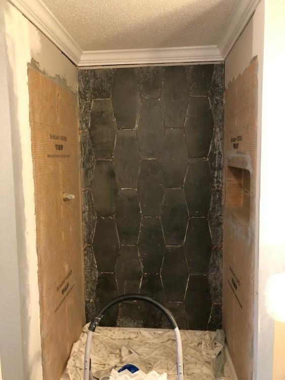 Back of master bathroom shower tile complete floor to ceiling