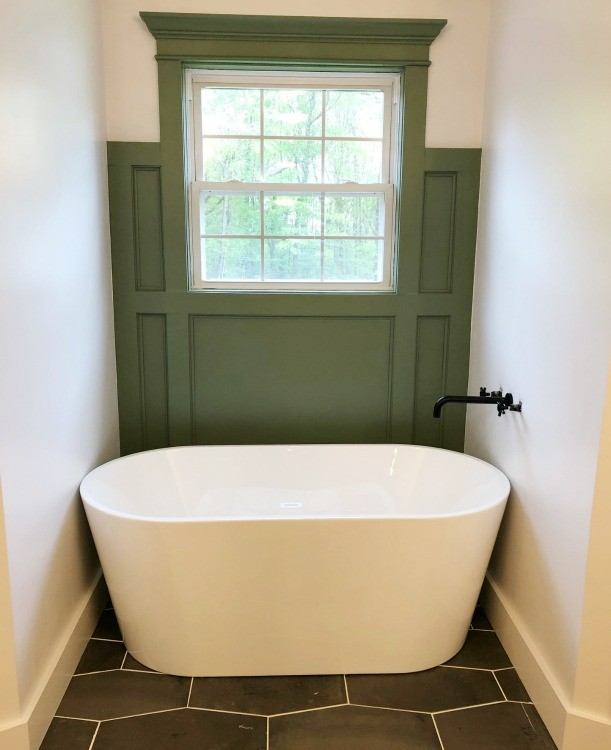 Tub installed, but tub faucet drywall needs patching