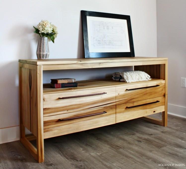 Angled view of DIY modern 4 drawer dresser  made from poplar