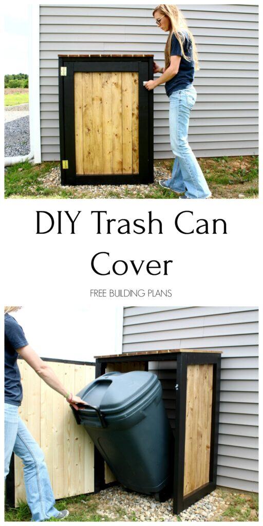 Pinterest collage image of trash cab cover frame with Shara opening and closing door