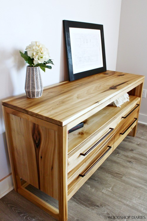 Poplar dresser--DIY Furniture tips to fill large knots with epoxy shown on dresser side