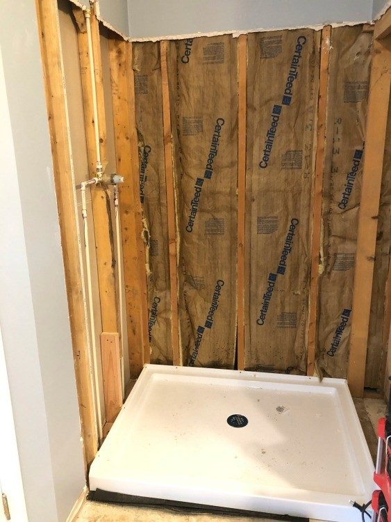 Shower pan installed for master bathroom renovation