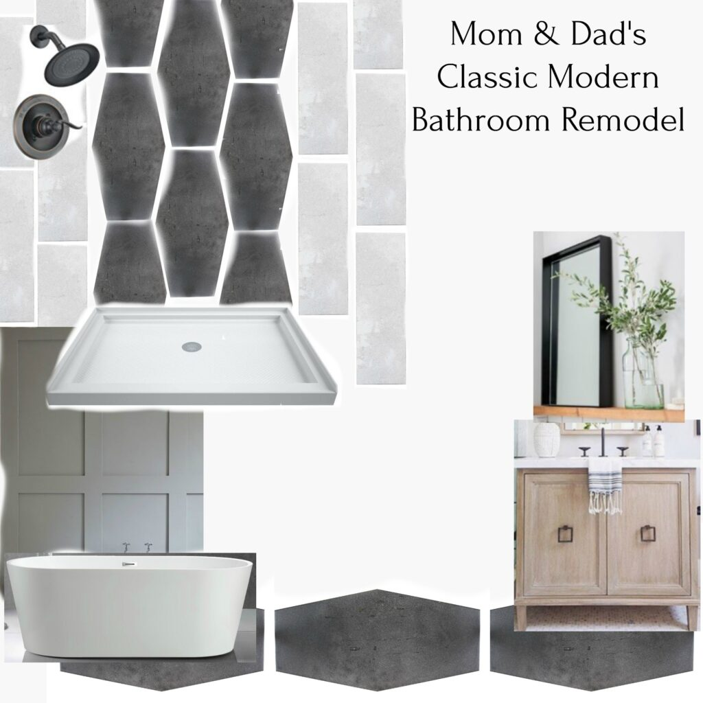 Master bathroom renovation mood board graphic