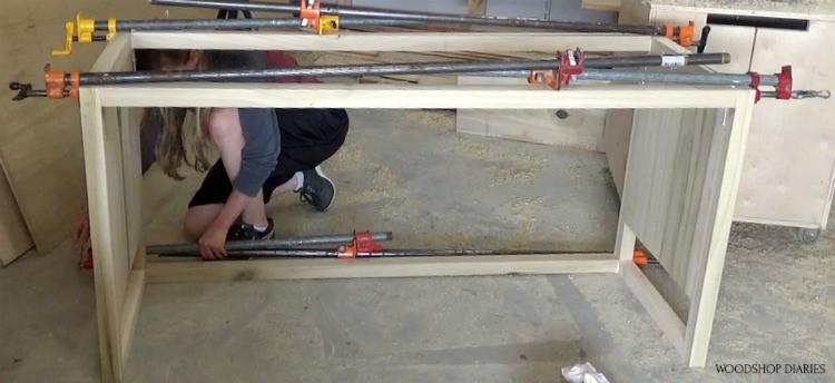 Doubling up clamps on DIY modern dresser frame