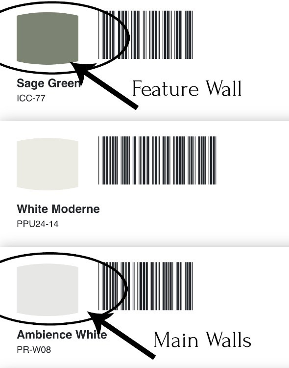 Behr paint options for master bathroom--Sage Green and Ambience White