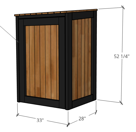 Overall dimensions of trash can cover 3d drawing